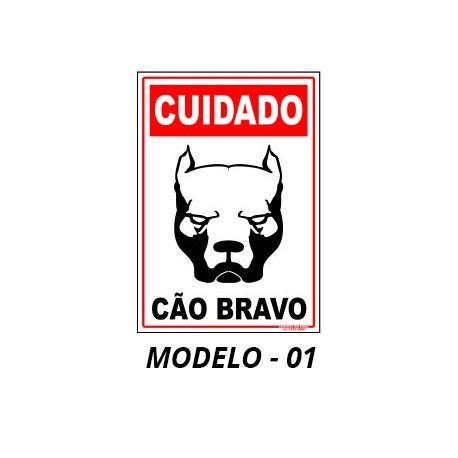 Placa - Cuidado Cão Bravo variações